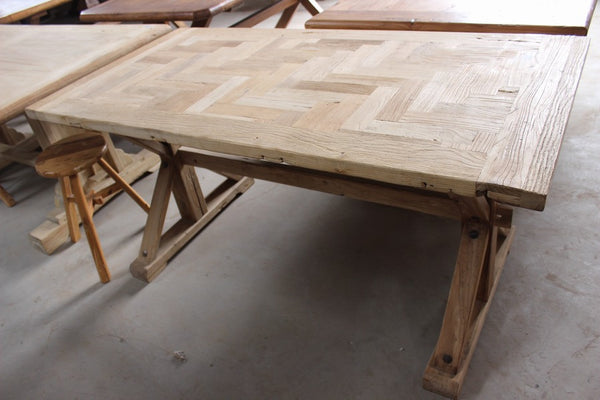 Napa Calistoga  Reclaimed Wood Dining Table with Parquet Top