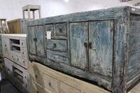 Antique Farmhouse Low Console with Distressed Blue Patina