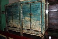 Antique Elmwood Buffet with Distressed Blue Patina