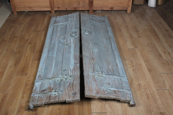 Pair of Antique Farmhouse Doors with Original Hand Forged Iron Hardware