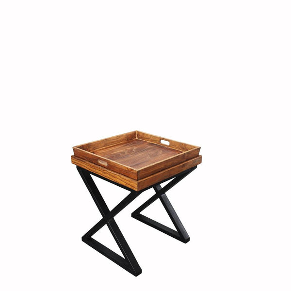 Alberto Reclaimed Wood Side Table with Inset Tray Top
