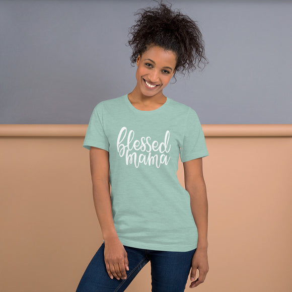 Blessed Mama Short-Sleeve T-Shirt (Heather Dusty Blue)