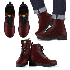 Maroon Leather Men's Boots - The Comfort Crusade Shopping Lounge