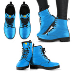 Leather Baby Blue & Comfy Women's Boots - The Comfort Crusade Shopping Lounge
