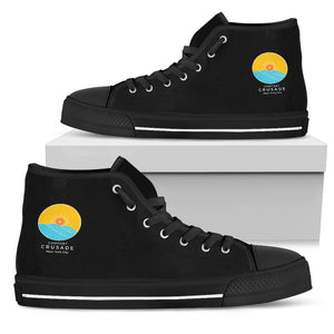 Men's Black Canvas Hi-Top Day Lounger Shoes (Black Sole) - The Comfort Crusade Shopping Lounge