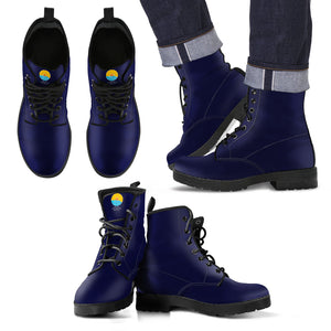 Navy Leather Men's Boots - The Comfort Crusade Shopping Lounge