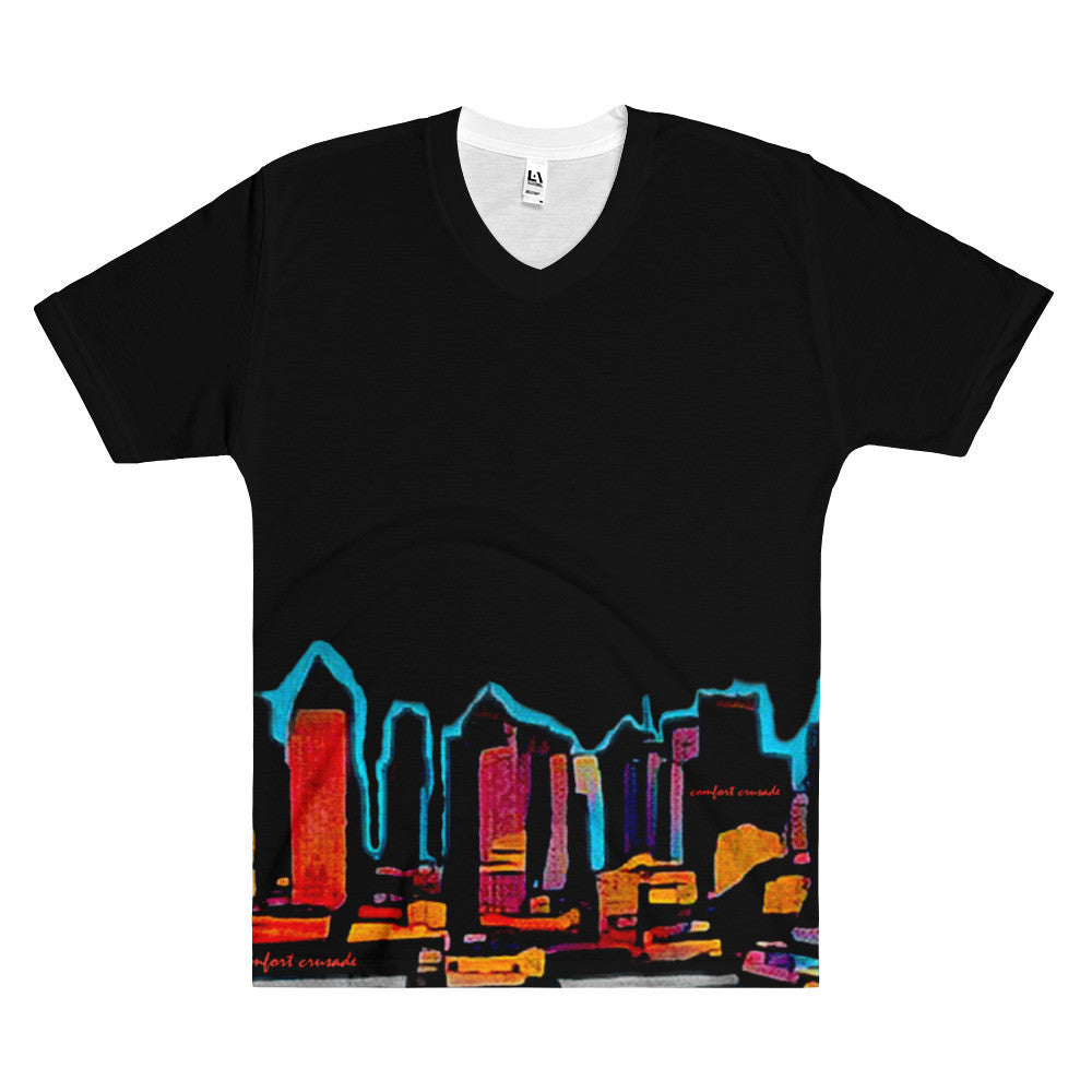 Comfort Crusade Men's Planet NY V-Neck T-Shirt - The Comfort Crusade Shopping Lounge