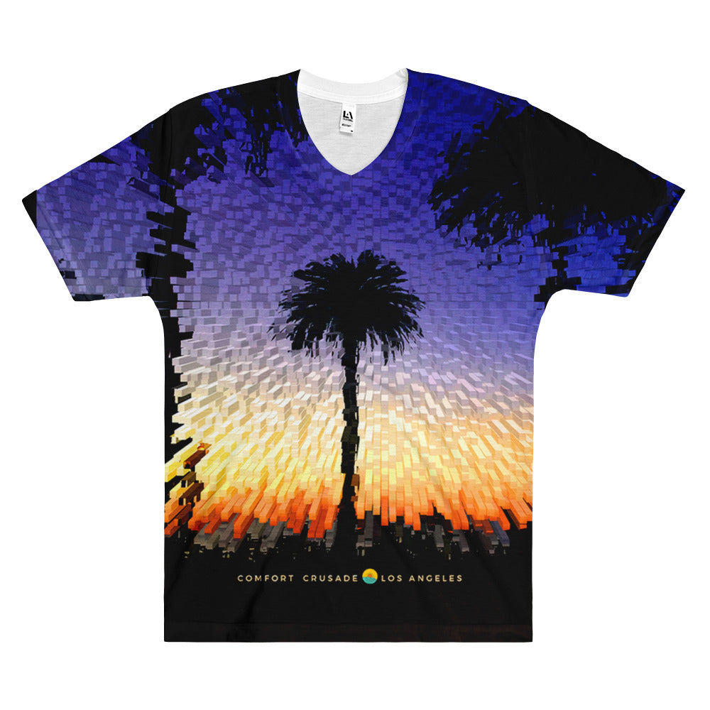 Santa Monica Palms Twilight Blue Sky Men's V-Neck T-Shirt - The Comfort Crusade Shopping Lounge