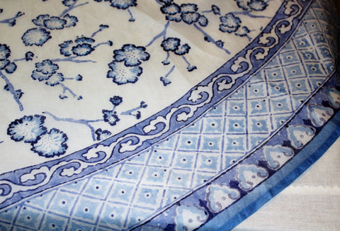 Blue & White Round Tablecloth