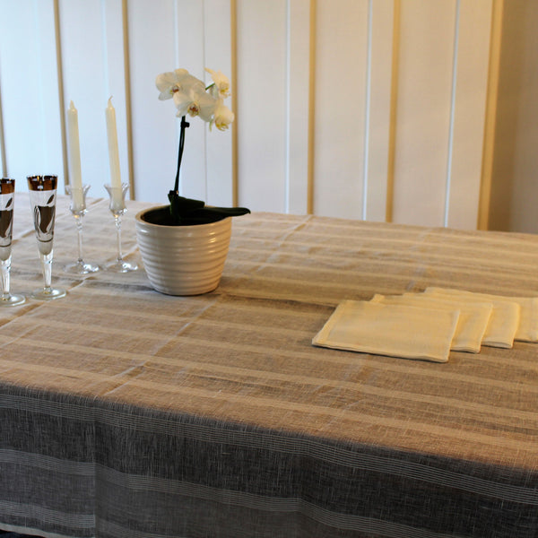 Linen Tablecloth with Self Stripe