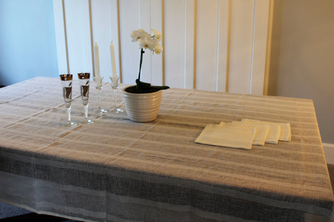 Linen Napkins with Self Stripe