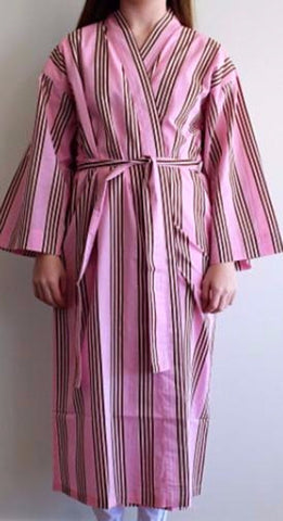 Rosie Pink & Brown Stripe Bathrobe