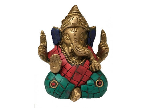 Ganesh | Brass Inlay Turquoise and Red Coral |  Carpe Diem with Remi