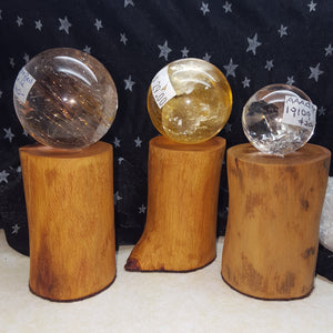 Stand Crystal Ball Hand Created Wood Small | Carpe Diem with Remi