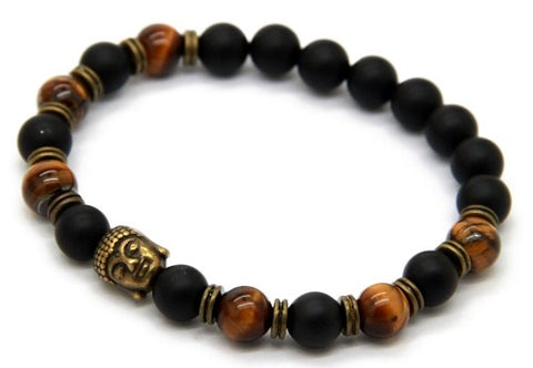 Bracelet Tiger Eye Onyx  Buddha - Carpe Diem With Remi