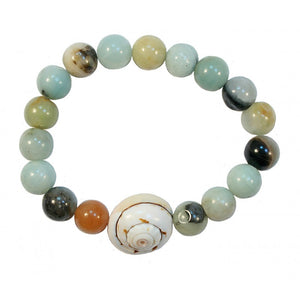 Bracelet Conch Shell with Aqua Shells | Carpe Diem With Remi