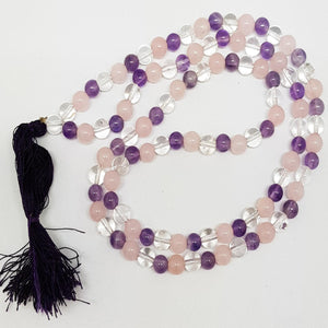 Prayer Bead Mala Amethyst, Rose Quartz and Quartz | Carpe Diem With Remi
