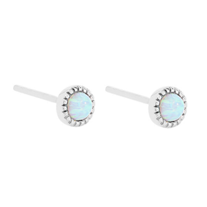 Earring Stud Silver with Opalite | Carpe Diem With Remi