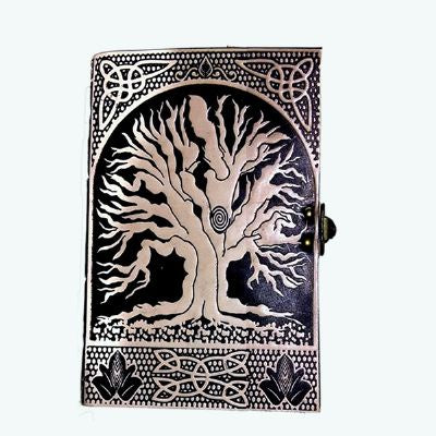 Journal | Leather | Tree of Life | Cream Black | Carpe Diem with Remi