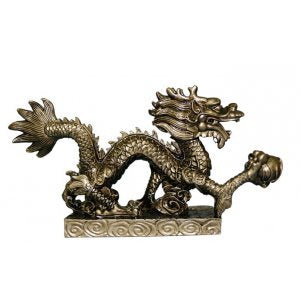 Dragon on Platform Statue | Antique Gold | Carpe Diem with Remi