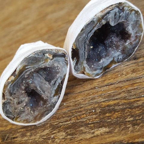 Agate | Friendship Cave | Pair | Grey Crystals | Carpe Diem with Remi