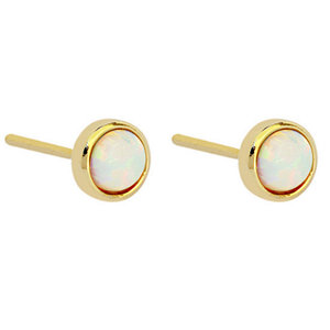 Earring Stud Gold with Opalite | Carpe Diem With Remi