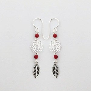 Earrings Red Coral Flower Feather | Carpe Diem with Remi