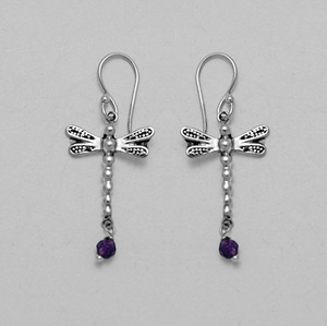 Earring Silver Dragonfly with Amethyst | Carpe Diem With Remi
