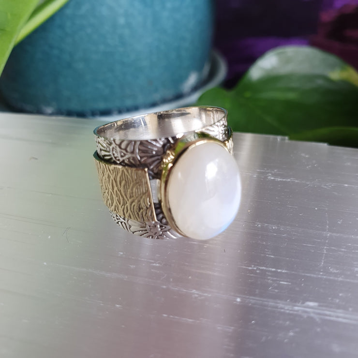 Ring Rainbow Moonstone Gold Trim Size 9 | Carpe Diem with Remi