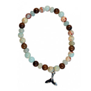 Bracelet Wood Beads Dainty Whale Tail | Carpe Diem With Remi