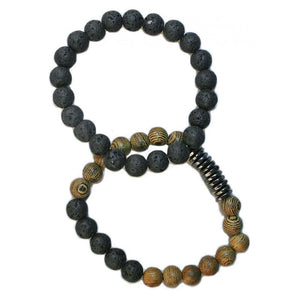 Wristband Wood/Lava Bead 2 Strand | Carpe Diem With Remi