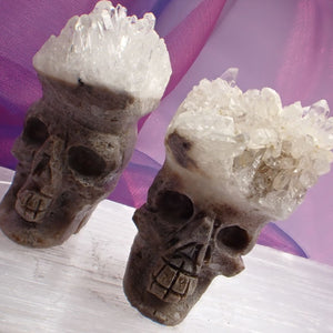 Skulls Hand Carved with Crystal Hair 6 cm | Carpe Diem with Remi