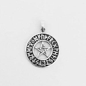 Pendant | Pentagram | with | Rune Symbols | Carpe Diem with Remi