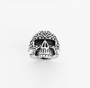 Ring Mens Large Silver Filigre Skull | Carpe Diem With Remi
