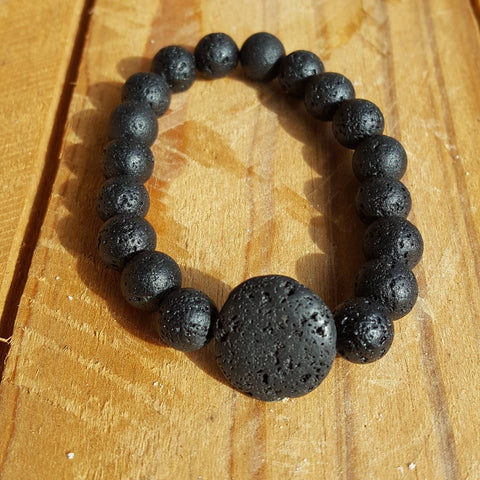 Bracelet Lava Stone with Bead - Carpe Diem With Remi
