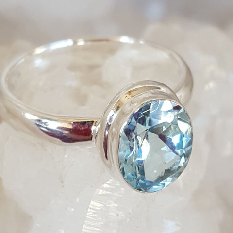 Ring | Blue Topaz | Faceted | Size 6.5 | Carpe Diem with Remi
