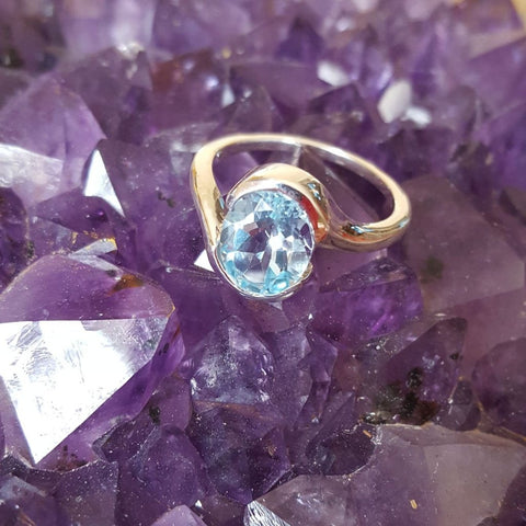 Ring | Blue Topaz | Facet | Size 7 3/4 | Carpe Diem with Remi