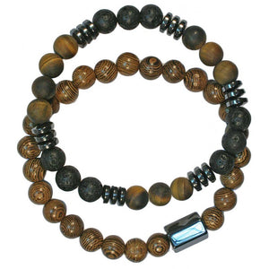 Wristband Wood/Lava Bead Bracelets | Carpe Diem With Remi