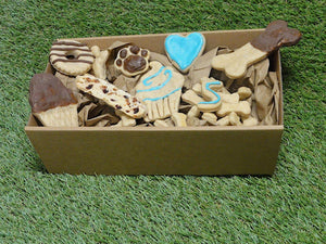 birthday box barkday box gotcha box dog treats biscuits cookies hand baked birthday bandana Bonza Dog Treats