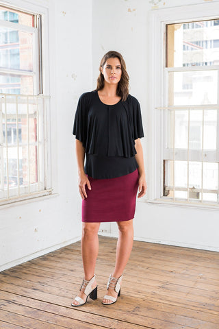 Florence Cape Feed Top [Black] - Bestseller - Amor&Grace