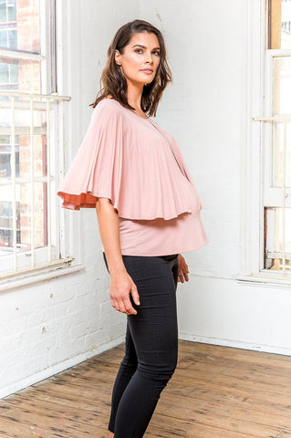 Florence Cape Feed Top [Blush Pink] - Bestseller - Amor&Grace