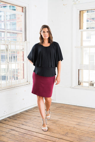 Tube Midi Skirt [Wine Red] - Amor&Grace