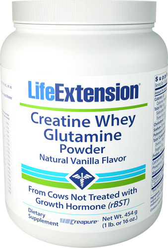 Creatine Whey Glutamine Powder (Vanilla) | 454 grams (1 lb. or 16 oz.)