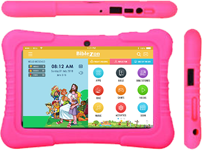 Biblezon Kids Tablet (Ages 4 - 12). The Ultimate tablet for Christian kids. Preloaded with over 150 Christian apps, books, videos, games & an appstore to download additional content. SHIPS 03/29/2019