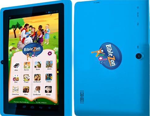 Biblezon Kids Catholic Tablet (Blue)  Ages 4 - 12.