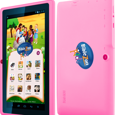 Biblezon Kids Catholic Tablet (Pink) Ages 4 - 12.