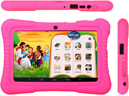 Biblezon Catholic Tablet with Cover (Ages 4 - 12).  Preloaded with over 50 exclusive Catholic apps, videos, songs, games, books & more. FREE SHIPPING INCLUDED!