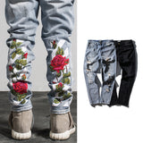 Rose Embroidery Ripped Jeans