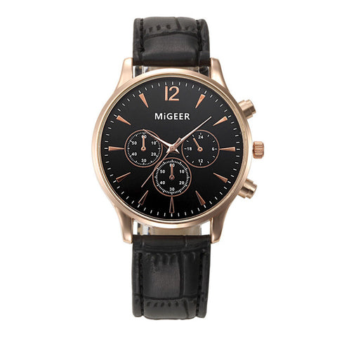 MiGEER Leather Band Watch