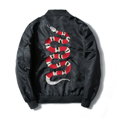 Embroided Snake Bomber Jacket